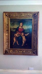 In Hasting's Old Town we hung this large 5x4ft early 19th century oil painting. Hand crafted wooden frame, also from the same period.