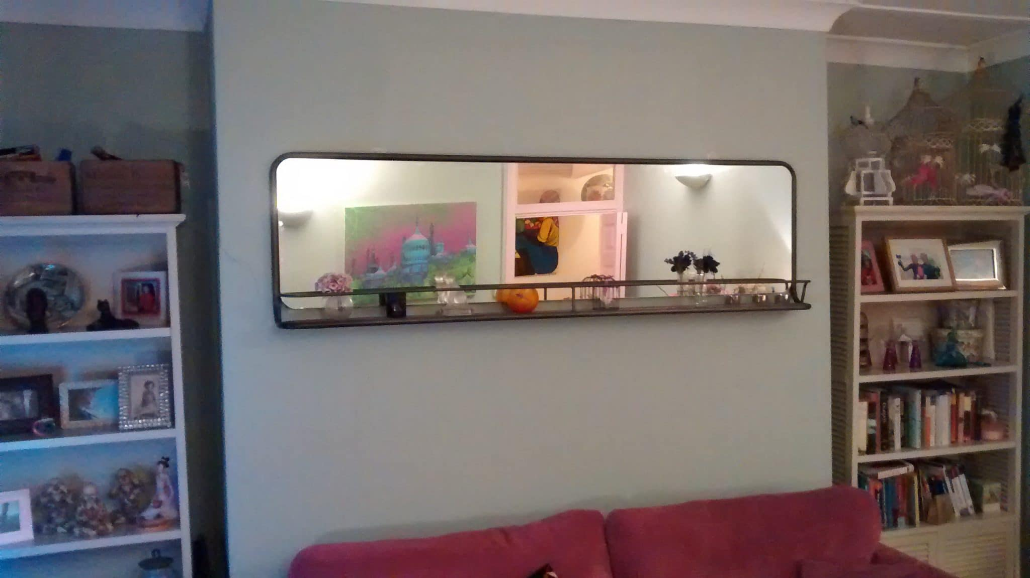 Large Modern Horizontal Pane Mirror With Nifty Built In Shelf Hung A Living