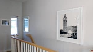 A minimal arrangement for the upstairs landing. Interior design by Terri from One in the House, Brighton.
