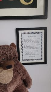 We hung this poem by Phillip Larkin next to the bed, as a perfect light bedtime read.