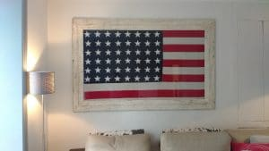 Large USA flag hung in a home in Richmond.