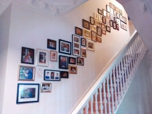 Picture wall ideas. A collage or picture wall that I arranged and installed running up these stairs in Eastbourne, East Sussex.
