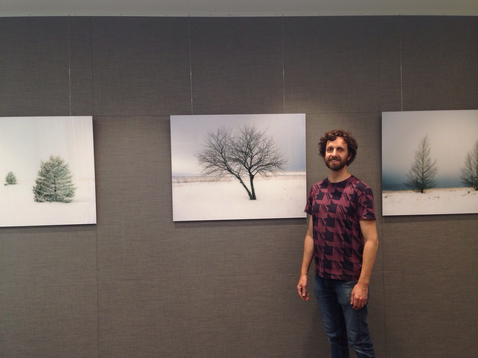 Here's me installing work by Annabelle Nicoll Photography in the office of Ice Futures London. Find her calm inducing landscapes for sale at Lumitrix