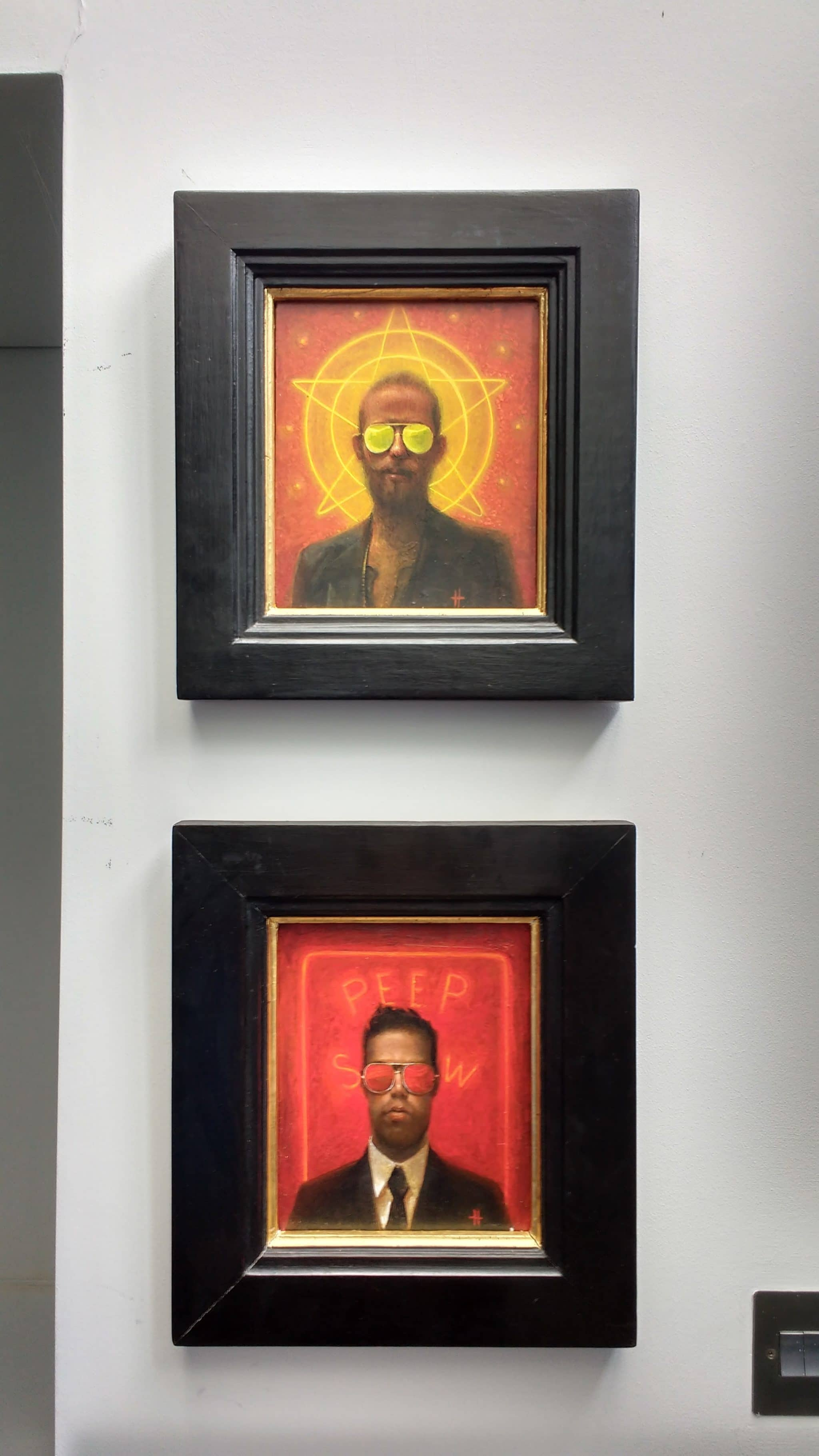Oil paintings by artist Kevin Hendley. 'The Meaning of Light', above and 'Little Peep', below. Installed in a basement room in Brighton.