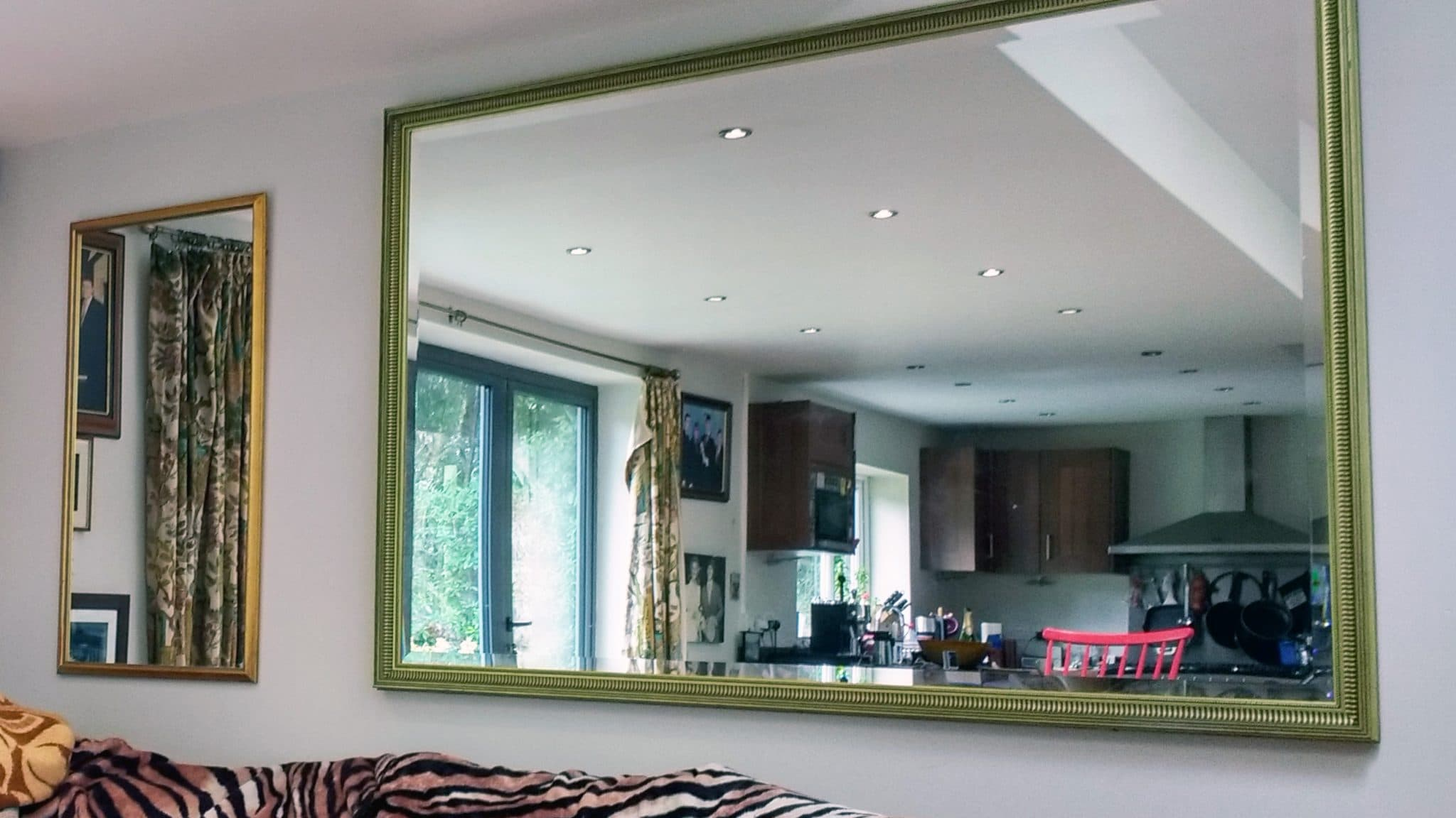 Two large mirrors, one 1.5x2m, the other smaller installed in a home in Tunbridge Wells.