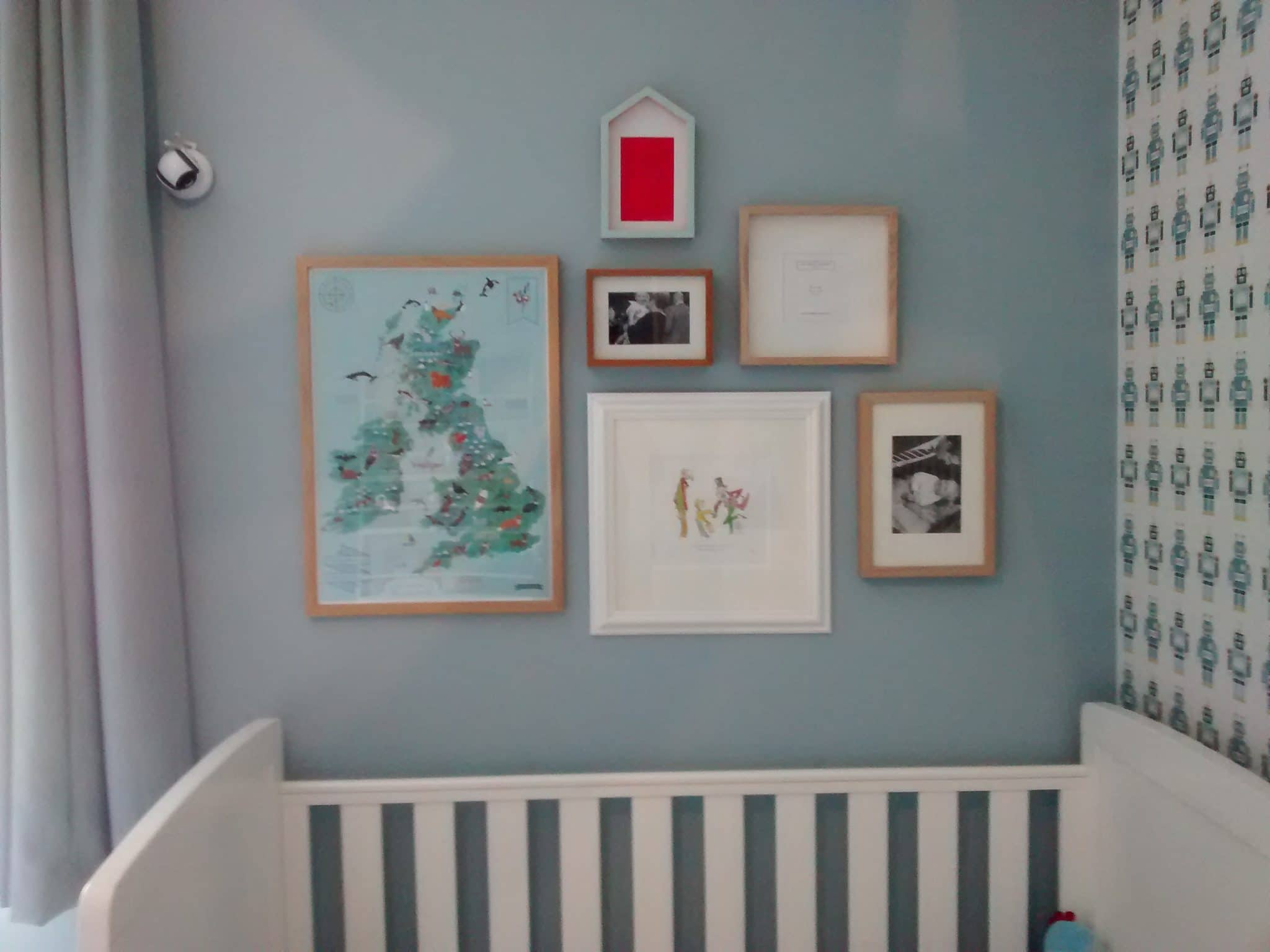 A child friendly collage wall, featuring a Charlie and the chocolate factory Quentin Blake illustration. Hung in a nursery in Wandsworth.