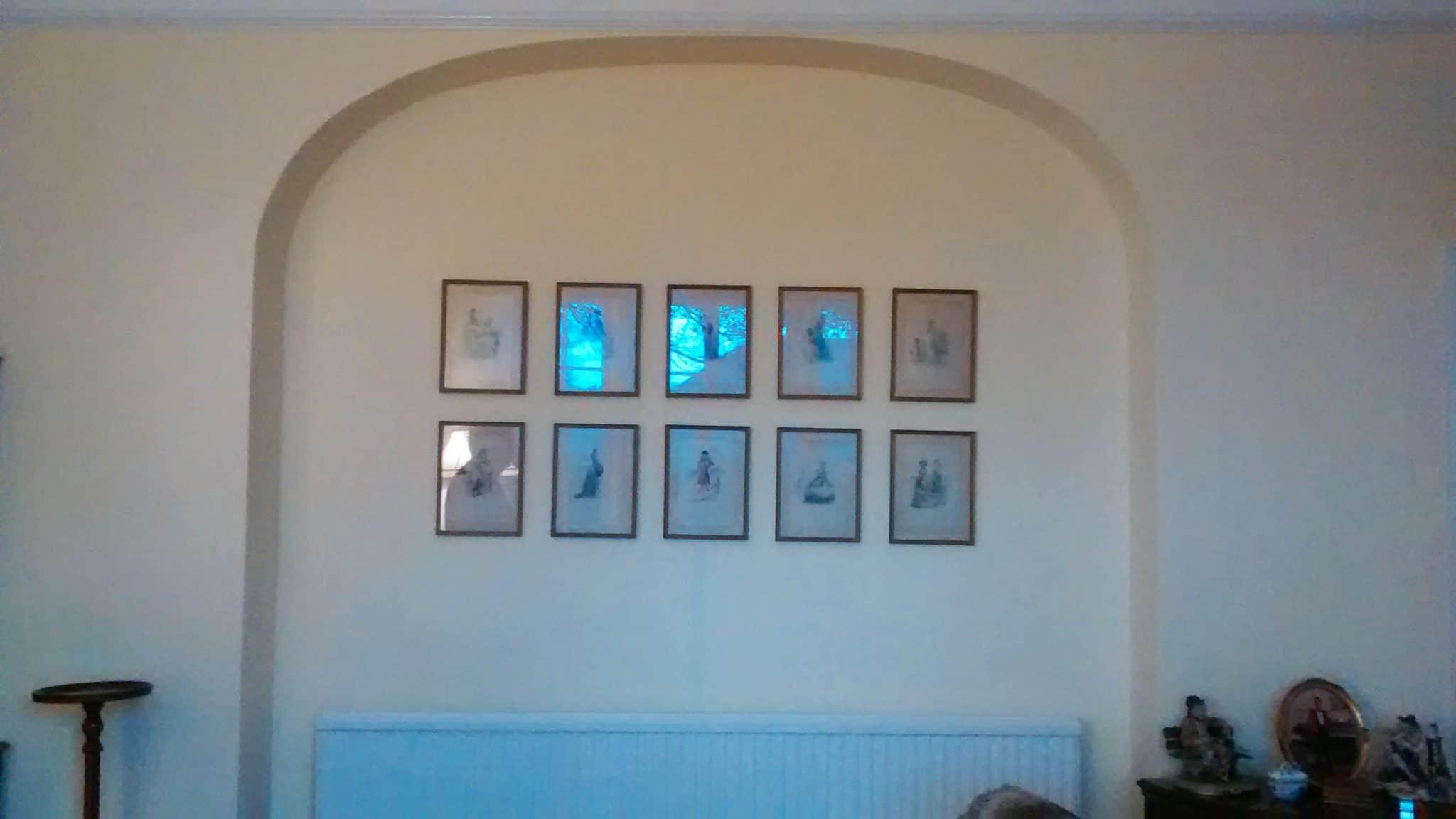 A grid of ten victorian watercolour illustrations hung in Lamberhurst, Tunbridge Wells.