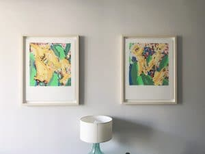 Series of framed exhibition posters